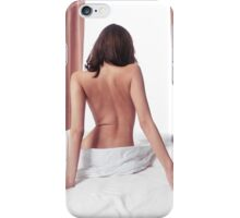 Nude back of woman sitting on bed in front of window art photo print iPhone Case/Skin