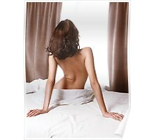 Back of woman sitting naked on bed in front of window art photo print Poster