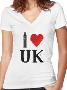 I Heart UK (remix) Women's Fitted V-Neck T-Shirt