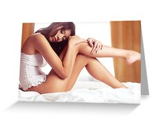 Young asian woman sitting in lingerie on a bed art photo print Greeting Card