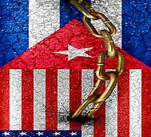 United States and Cuba Flags United Design by DFLC Prints