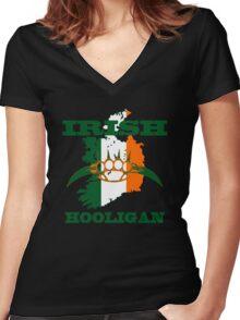irish hooligan brass knuckles Women's Fitted V-Neck T-Shirt