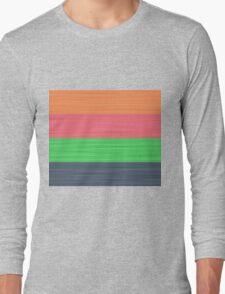 Brush Stroke Stripes: Peach, Rose, Spring Green and Steel Blue Long Sleeve T-Shirt