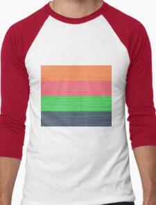 Brush Stroke Stripes: Peach, Rose, Spring Green and Steel Blue Men's Baseball ¾ T-Shirt