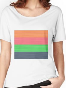 Brush Stroke Stripes: Peach, Rose, Spring Green and Steel Blue Women's Relaxed Fit T-Shirt