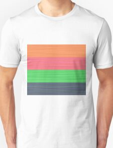 Brush Stroke Stripes: Peach, Rose, Spring Green and Steel Blue Unisex T-Shirt
