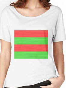 Brush Stroke Stripes: Red and Green Women's Relaxed Fit T-Shirt