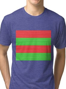 Brush Stroke Stripes: Red and Green Tri-blend T-Shirt