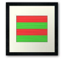 Brush Stroke Stripes: Red and Green Framed Print