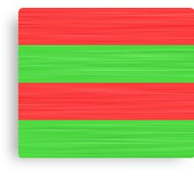 Brush Stroke Stripes: Red and Green Canvas Print