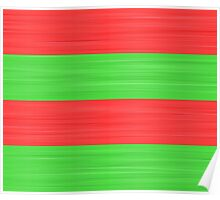 Brush Stroke Stripes: Red and Green Poster
