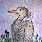 Baby Heron Colored Pencil Drawing by librapat