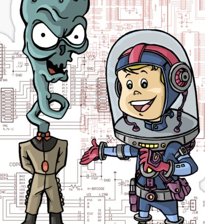 SpaceKid and General TangyRelish of the Neckadon Army Sticker