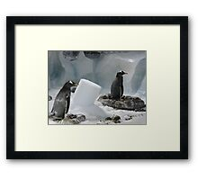 We Made It Ourselves, Honest (Penguins with Ice Column) Framed Print