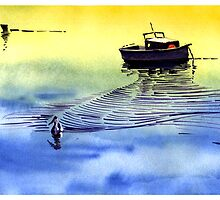 Boat and the seagull by Anil Nene