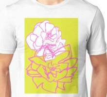 Layered floral drawing in pink Unisex T-Shirt