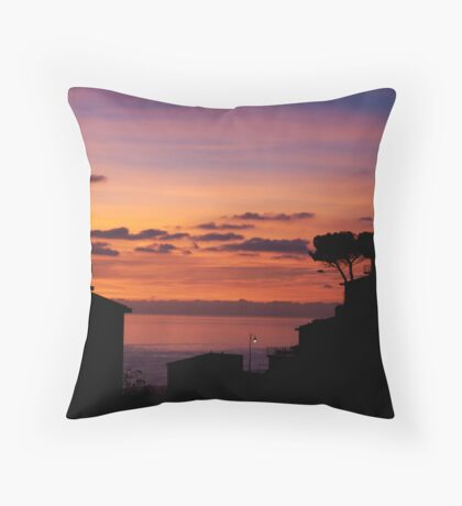 Riomaggiore at sunset Throw Pillow