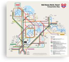 Walt Disney World Transportation as a Subway Map Canvas Print
