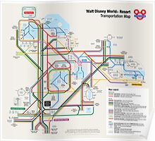 Walt Disney World Transportation as a Subway Map Poster