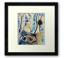 Blue Heron Torn Paper Collage Framed Print