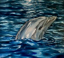 Dolphin Curiosity - Oil Painting by Avril Brand