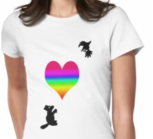 Squirrel and Hummingbird Affection Womens Fitted T-Shirt
