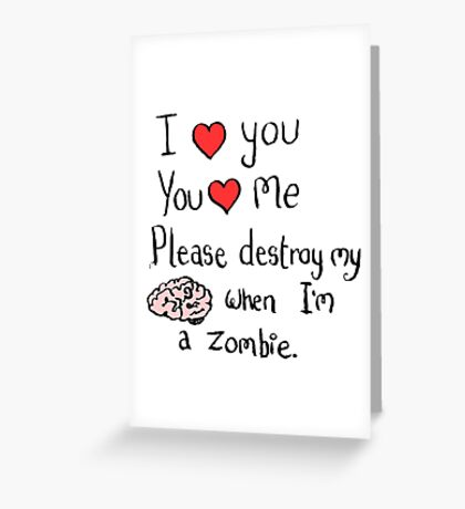 Love in the time of zombies Greeting Card