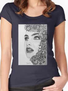 Woman in graphite pencil Women's Fitted Scoop T-Shirt