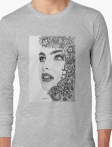 Woman in graphite pencil Long Sleeve T-Shirt