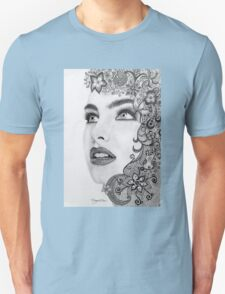 Woman in graphite pencil T-Shirt