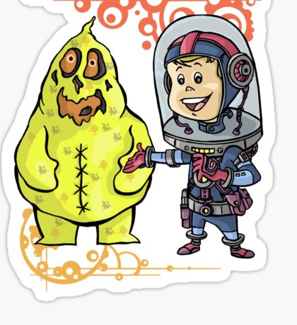 SpaceKid and Scooter Bag O'Glop of Squishmoon 3 Sticker