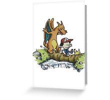 charizard following ash and pikachu Greeting Card