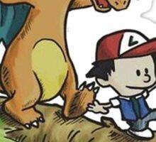 charizard following ash and pikachu Sticker