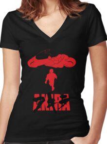 Akira Red on Black Women's Fitted V-Neck T-Shirt