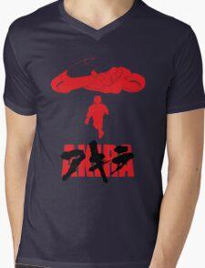 Akira Red on Black Mens V-Neck T-Shirt