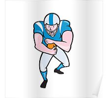 American Football Running Back Fending Cartoon Poster