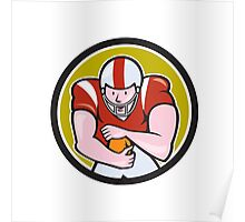 American Football Running Back Shield Cartoon Poster