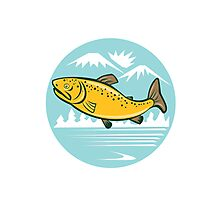 Brown Trout Jumping Circle Cartoon Photographic Print