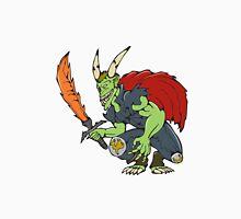 Demon Wield Fiery Sword Cartoon Unisex T-Shirt