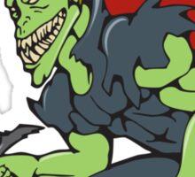 Demon Wield Fiery Sword Cartoon Sticker