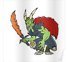 Demon Wield Fiery Sword Cartoon Poster