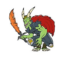 Demon Wield Fiery Sword Cartoon Photographic Print