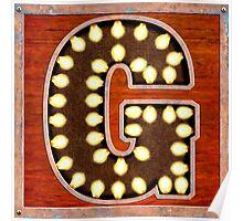 Vintage Lighted Sign - Monogram Letter G Poster
