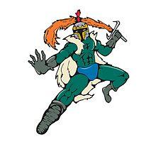 Knight Wield Fiery Sword Cartoon Photographic Print