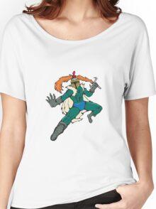 Knight Wield Fiery Sword Cartoon Women's Relaxed Fit T-Shirt