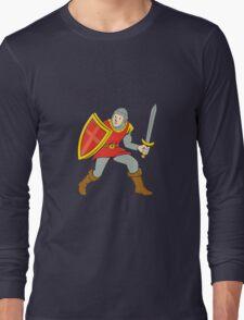 Medieval Knight Shield Sword Standing Cartoon T-Shirt