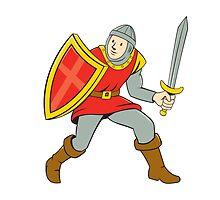 Medieval Knight Shield Sword Standing Cartoon by patrimonio