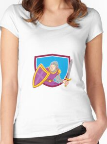 Medieval Knight Shield Sword Cartoon Women's Fitted Scoop T-Shirt