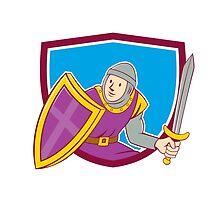 Medieval Knight Shield Sword Cartoon by patrimonio