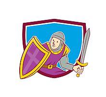 Medieval Knight Shield Sword Cartoon Photographic Print